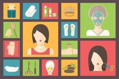 Kvinna i skönhet, brunnsortsalong Ansiktsbehandling, kropp och hår royaltyfri illustrationer