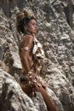 Kvinna i skal Royaltyfri Fotografi