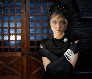 Kvinna i slott Arkivbilder