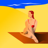 Kvinna i strand vektor illustrationer