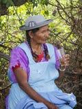 Kvinna i Tarija som dricker från ett exponeringsglas Royaltyfri Fotografi