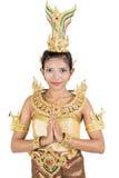 Kvinna i traditionell thailändsk dräkt royaltyfria bilder