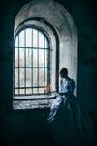 Kvinna i Victorianklänning Royaltyfri Bild