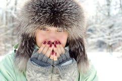 Kvinna i vinter fotografering för bildbyråer