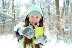 Kvinna i vinter arkivbild