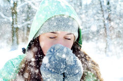 Kvinna i vinter royaltyfri bild