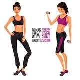 Kvinna kondition, idrottshall, sport, Royaltyfri Bild