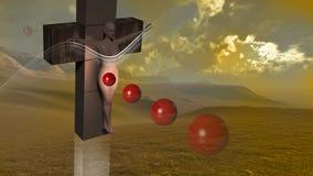 Kvinna korsfäste röda bollar för slut Royaltyfria Bilder