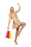 Kvinna många shoppingpåsar, når isolerat att ha shoppat Fotografering för Bildbyråer