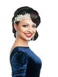 Kvinna med aftonhår och makeup i den Retro bilden för afton Royaltyfria Foton