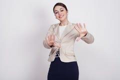 Kvinna med aktiva uttryck Arkivfoto