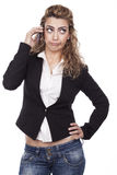 Kvinna med aktiva uttryck Arkivfoton
