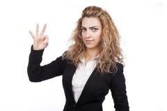 Kvinna med aktiva uttryck Arkivbild