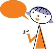 Kvinna med anförandebubblan Royaltyfri Illustrationer