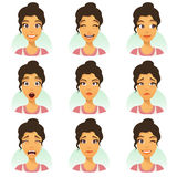 Kvinna med ansiktsuttryckuppsättningen Royaltyfri Bild