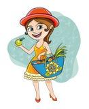 Kvinna med Apple Royaltyfria Bilder