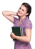 Kvinna med böcker Arkivfoton