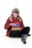 Kvinna med böcker Royaltyfri Fotografi