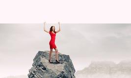Kvinna med banret Arkivfoton