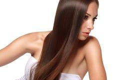 Kvinna med Beautifull hår Arkivbild