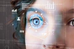 Kvinna med begrepp för panel för cyberteknologiöga stock illustrationer