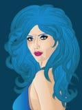 Kvinna med blått hår stock illustrationer