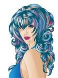Kvinna med blåtthår royaltyfri illustrationer