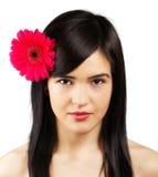 Kvinna med blomman Arkivfoton