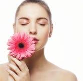 Kvinna med blomman Fotografering för Bildbyråer
