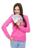 Kvinna med brittiska pund Arkivfoton