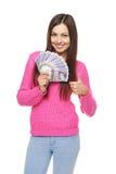 Kvinna med brittiska pund Arkivfoto