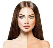 Kvinna med brunbränd solbränna för hud före och efter