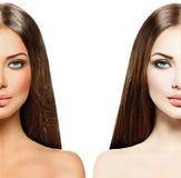 Kvinna med brunbränd solbränna för hud före och efter royaltyfri foto