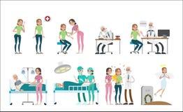 Kvinna med canceruppsättningen vektor illustrationer