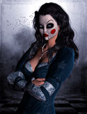 Kvinna med clownmaskeringen Royaltyfri Fotografi