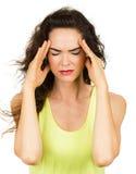 Kvinna med dålig huvudvärk Arkivfoto