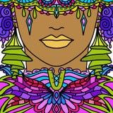 Kvinna med den dekorerade maskeringen Arkivfoton