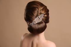 Kvinna med den eleganta retro frisyren med hårtillbehören arkivbild