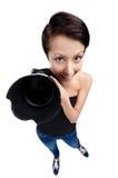 Kvinna med den fotografiska kameran Royaltyfria Bilder