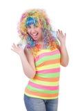 Kvinna med den isolerade färgglade peruken Royaltyfria Foton