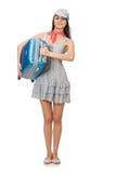 Kvinna med den isolerade resväskan Fotografering för Bildbyråer