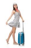Kvinna med den isolerade resväskan Royaltyfri Fotografi