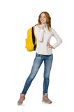 Kvinna med den isolerade ryggsäcken Royaltyfria Foton