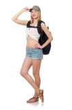 Kvinna med den isolerade ryggsäcken Royaltyfri Foto