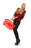 Kvinna med den isolerade shoppingkorgen Royaltyfria Foton