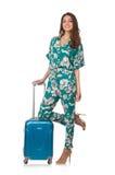 Kvinna med den klara resväskan royaltyfria foton