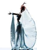 Kvinna med den siden- klänningkonturn för stordia arkivbilder