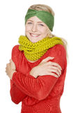Kvinna med den varma ullscarfen Royaltyfri Fotografi
