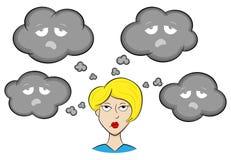 Kvinna med deprimerande tankar stock illustrationer