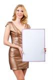 Kvinna med det blanka brädet Fotografering för Bildbyråer